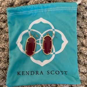 Kendra Scott Elle Gold Drop Earrings- Maroon Jade